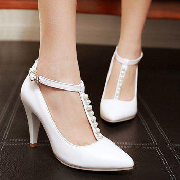 Graceful Beading and T-Strap Design Pumps For Women - 38 38