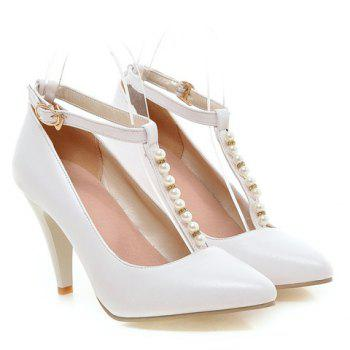 Graceful Beading and T-Strap Design Pumps For Women - 39 39
