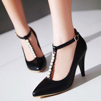 Graceful Beading and T-Strap Design Pumps For Women - 37 37