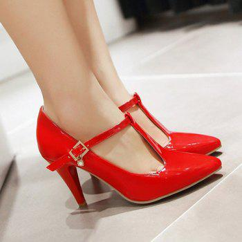 Fashionable Patent Leather and T-Strap Design Women's Pumps - RED 36