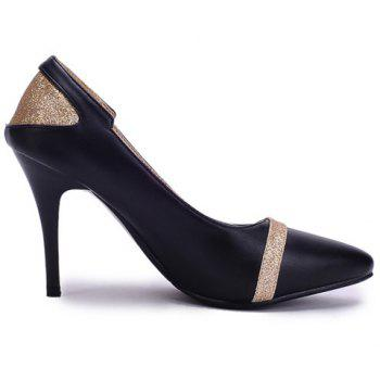 Casual Color Block and PU Leather Design Pumps For Women - BLACK 39