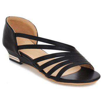 Simple Strappy and PU Leather Design Women's Sandals