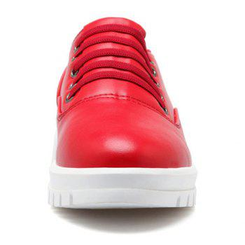Casual PU Leather and Solid Color Design Flat Shoes For Women - RED RED