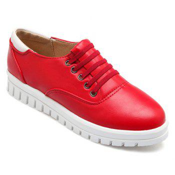 Casual PU Leather and Solid Color Design Flat Shoes For Women - RED 39