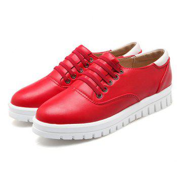 Casual PU Leather and Solid Color Design Flat Shoes For Women - 39 39