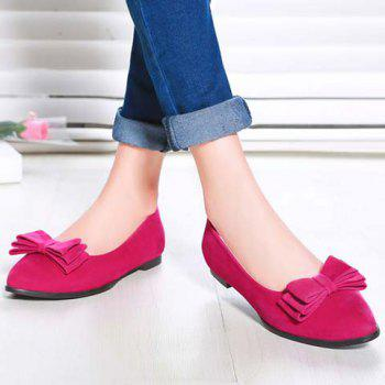 Graceful Bowknot and Flock Design Women's Flat Shoes - ROSE 38