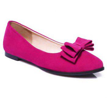 Graceful Bowknot and Flock Design Women's Flat Shoes
