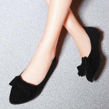 Graceful Bowknot and Flock Design Women's Flat Shoes - BLACK BLACK