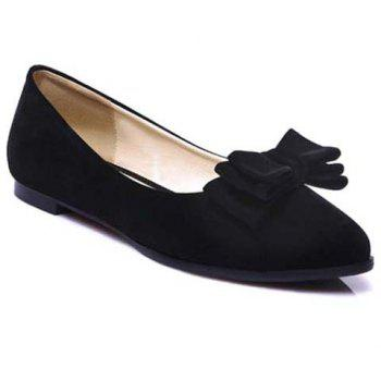 Graceful Bowknot and Flock Design Women's Flat Shoes - BLACK 38