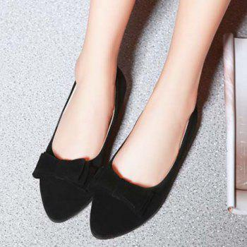 Graceful Bowknot and Flock Design Women's Flat Shoes - 38 38