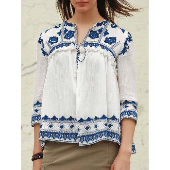 Vintage Embroidered V-Neck 3/4 Sleeve Fringed Blouse For Women
