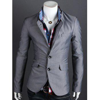 Elegant Stand Collar Single Breasted Long Sleeve Men's Blazer