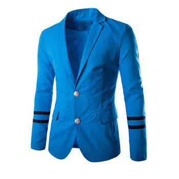 Elegant Turn-Down Collar Stripes Pattern Long Sleeve Men's Blazer