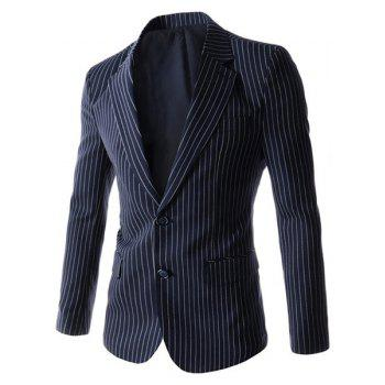Turn-Down Collar Vertical Stripes Flap Pocket Long Sleeve Men's Blazer