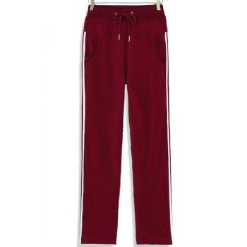Casual Drawstring Loose-Fitting Striped Women's Pants - CLARET M