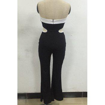 Trendy Strapless Hit Color Hollow Out Sleeveless Jumpsuit For Women - BLACK M