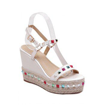 Trendy Colorful Rivet and Wedge Heel Design Sandals For Women