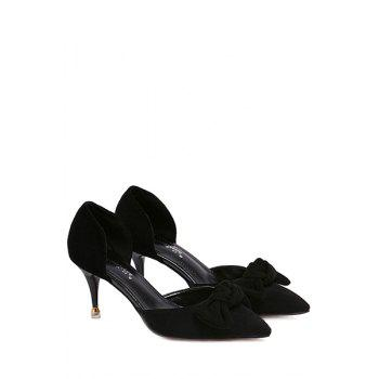 Elegant Bowknot and Two-Piece Design Pumps For Women - BLACK 36