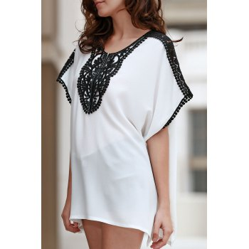 Casual Square Cut Combined Lace Women's T-Shirt