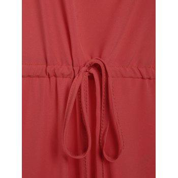 Chic Pure Color Spaghetti Strap Wide Leg Loose Jumpsuit For Women - RED XL