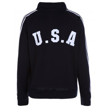 Stripes Spliced Zipper Pocket American Flag Letters Print Stand Collar Long Sleeves Men's Sweatshirt - CADETBLUE 2XL