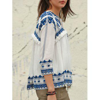 Vintage Embroidered V-Neck 3/4 Sleeve Fringed Blouse For Women - WHITE M