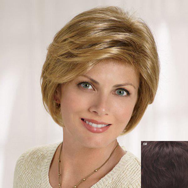 Fluffy Natural Wavy Capless Graceful Short Side Bang Human Hair Wig For Women - MEDIUM BROWN