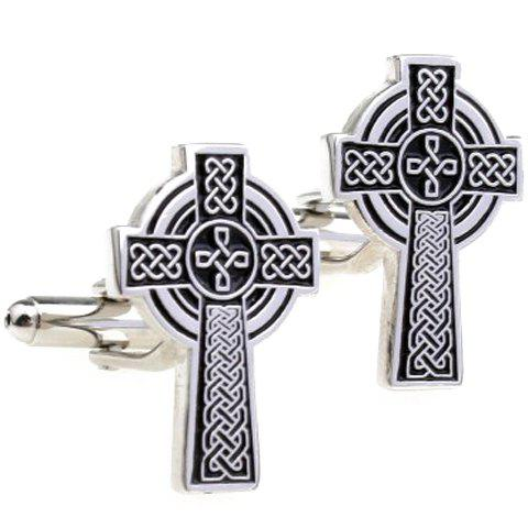 Pair of Stylish Hemp Flowers Cross Shape Men's Alloy Cufflinks - BLACK