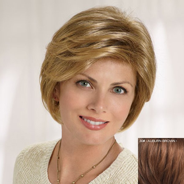 Fluffy Natural Wavy Capless Graceful Short Side Bang Human Hair Wig For Women - AUBURN BROWN 3