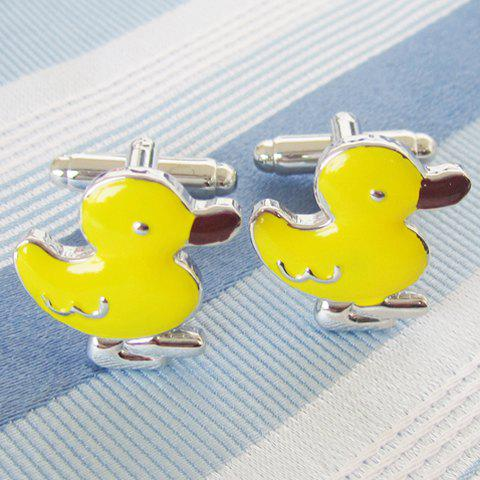 Pair of Stylish Yellow Duckling Shape Alloy Cufflinks For Men - YELLOW