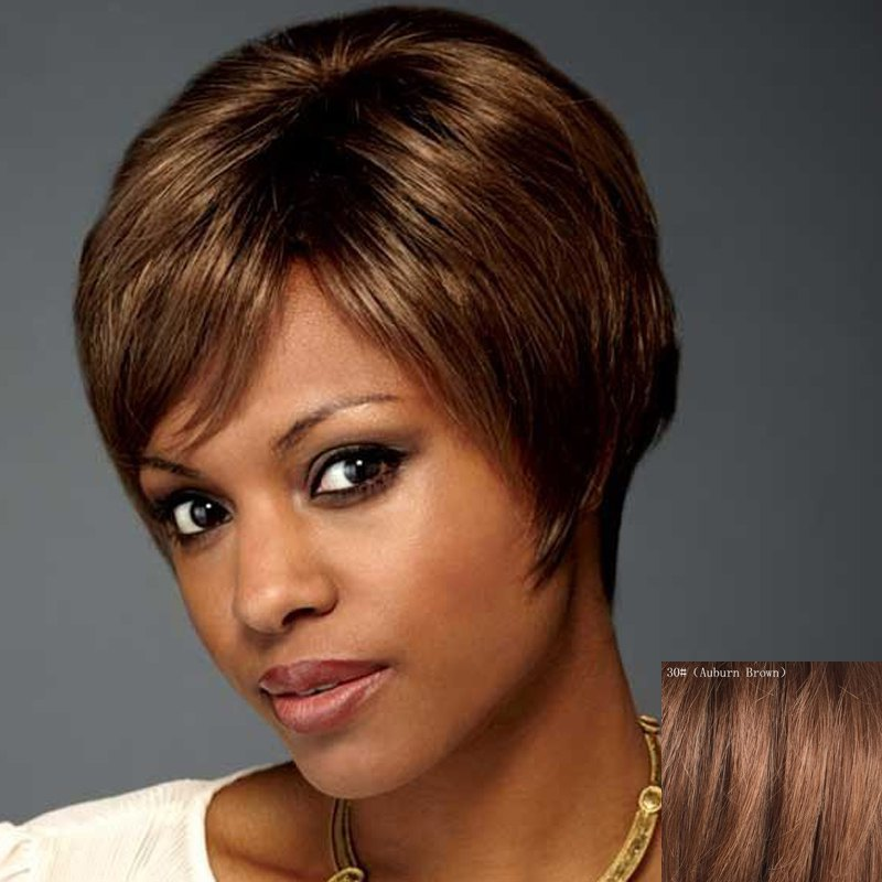 Dynamic Short Side Bang Capless Assorted Color Natural Straight Human Hair Wig For Women - AUBURN BROWN