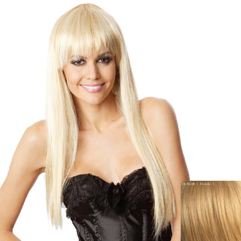 Charming Extra Long Capless Trendy Full Bang Straight Women's Human Hair Wig - BLONDE