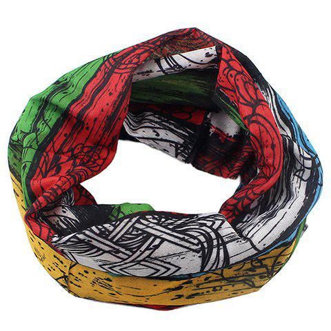 Stylish Multielement Pattern Color Block Men's Scarf -  COLORFUL