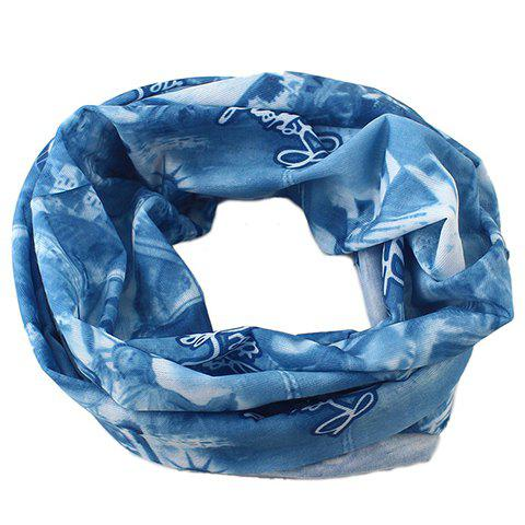 Stylish Building Letter People Pattern Men's Scarf - BLUE