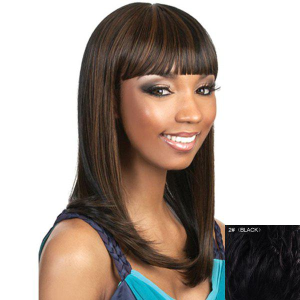Vogue Straight Long Attractive Full Bang Capless Human Hair Wig For Women - BLACK