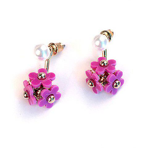 Pair of Stylish Flower Earrings For Women