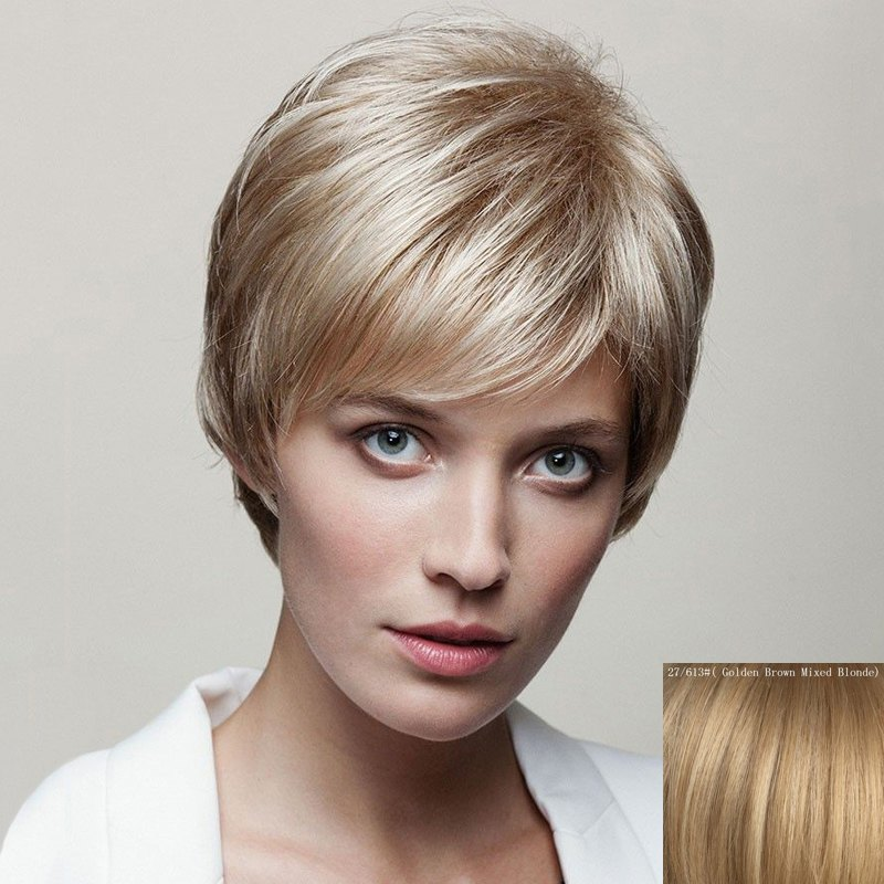 Spiffy Short Capless Fluffy Natural Straight Side Bang Women's Human Hair Wig - GOLDEN BROWN/BLONDE