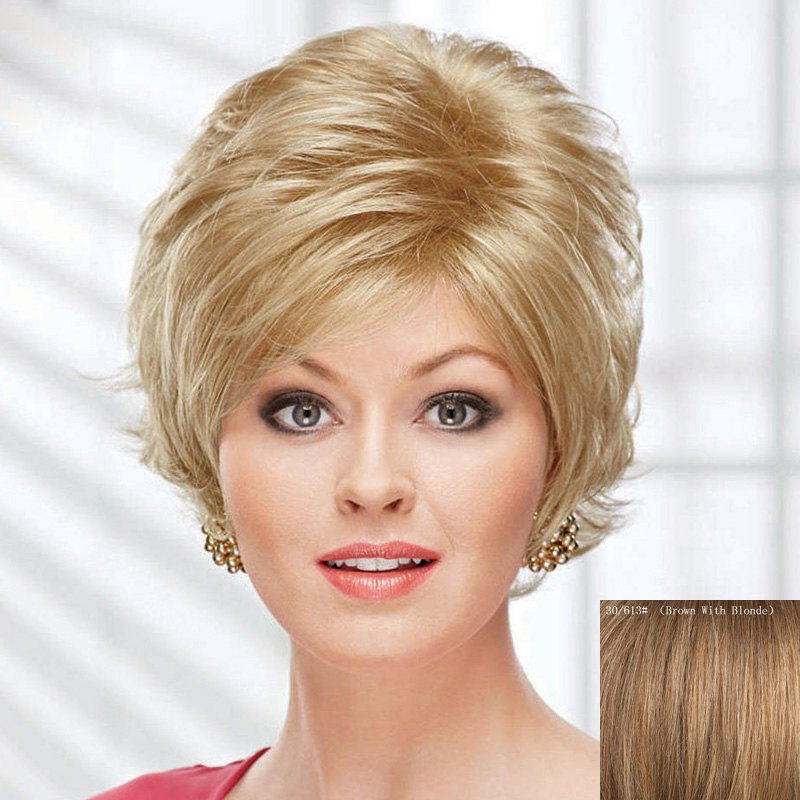 Fluffy Short Curly Human Hair Wig For Women - BROWN/BLONDE