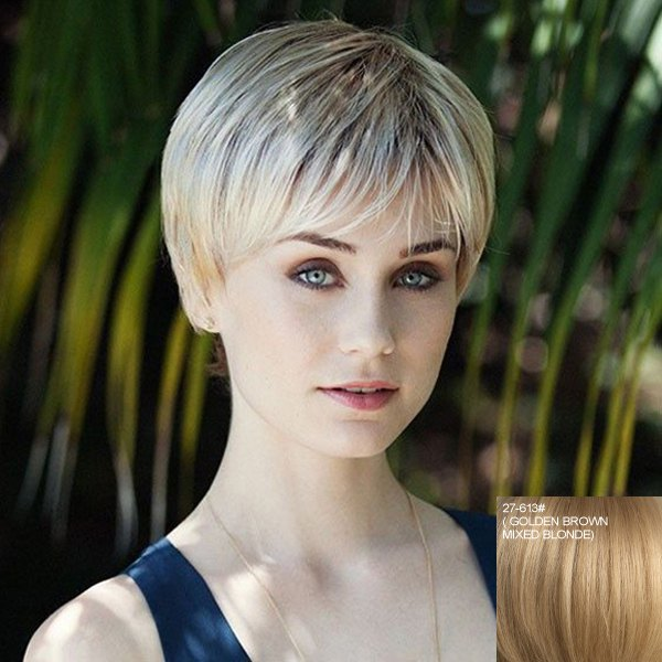 Stunning Short Straight Stylish Side Bang Capless Real Natural Hiar Wig For Women - GOLDEN BROWN/BLONDE