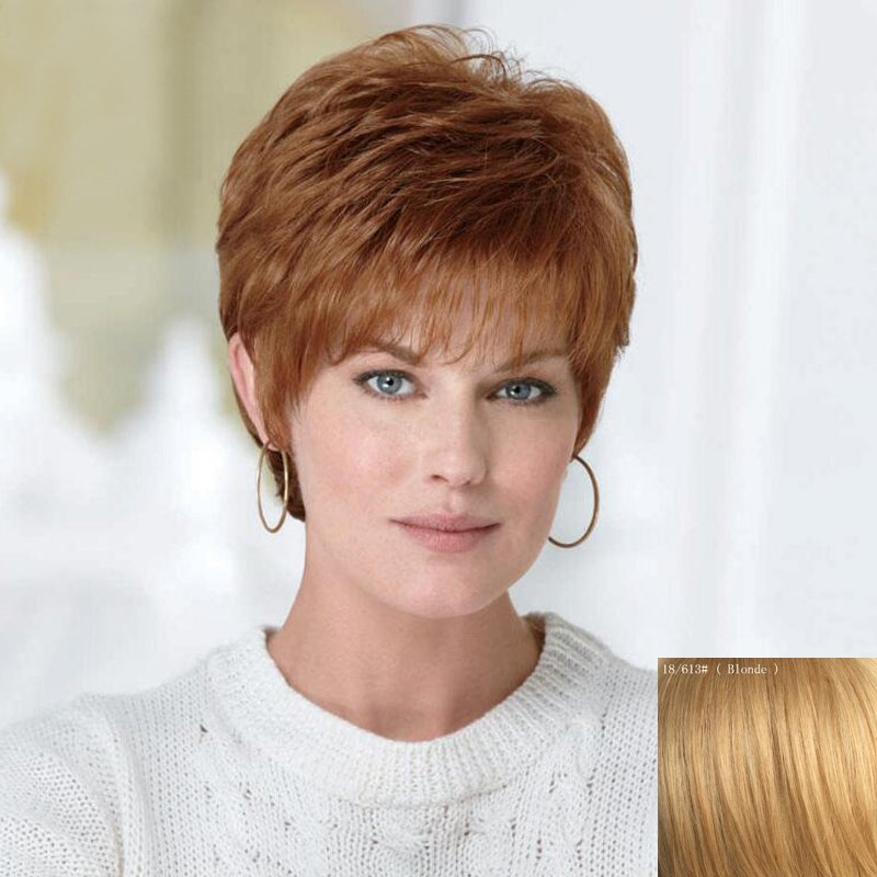 Women's Fluffy Short Curly Human Hair Wig - BLONDE