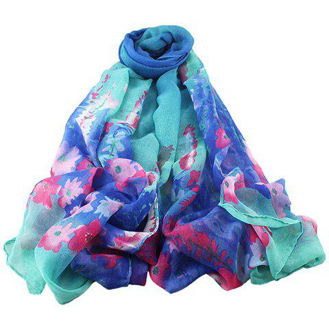 Chic Hand-Painted Flowers Pattern Women's Voile Scarf - BLUE