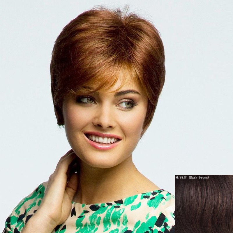 Graceful Short Straight Nobby Inclined Bang Women's Capless Human Hair Wig - DARK BROWN
