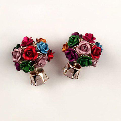 Pair of Chic Rose Earrings For Women - COLORMIX