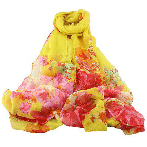 Chic Hand-Painted Peony Pattern Women's Voile Scarf - YELLOW