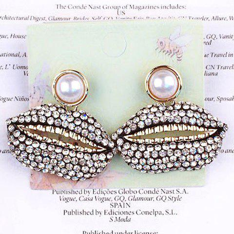Pair of Mouth Rhinestoned Earrings - WHITE