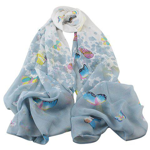 Chic Various Hand-Painted Butterflies and Flowers Pattern Women's Chiffon Scarf - GRAY