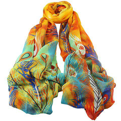 Chic Peacock Feathers Painting Pattern Women's Voile Scarf - ORANGE