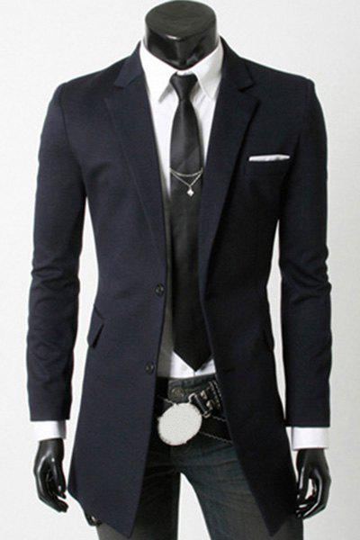 Elegant Turn-Down Collar Flap Pocket Long Sleeve Men's Long Blazer - CADETBLUE L
