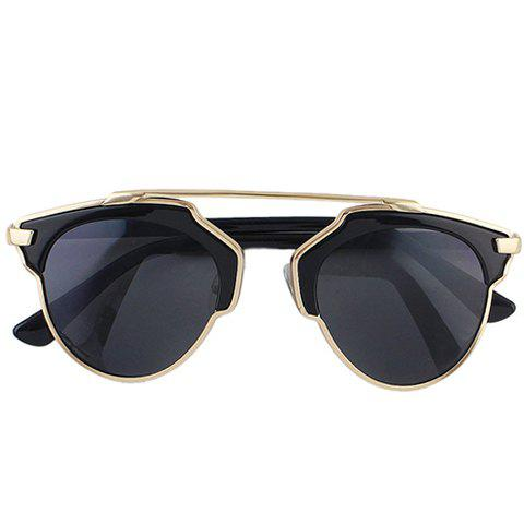 Chic Metal Bar Embellished Black Match Women's Sunglasses - GOLDEN