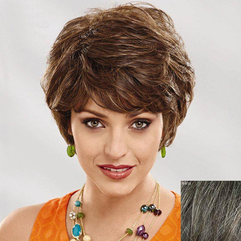 Women's Curly Side Bang Short Human Hair Wig - DARKEST BROWN/GRAY